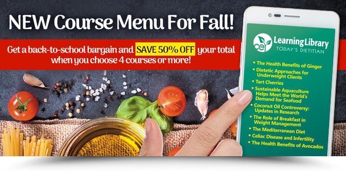 A NEW COURSE MENU FOR FALL - Get a back-to-school bargain & save 50% off your total when you choose 4 courses or more!