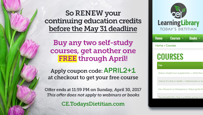 So renew your continuing education credits before the May 31 deadline. Buy any two self-study courses, get another one FREE through April! Apply coupon code APRIL2+1at checkout to get your free course. Offer ends at 11:59 PM on Sunday, April 30, 2017. This offer does not apply to webinars or books.