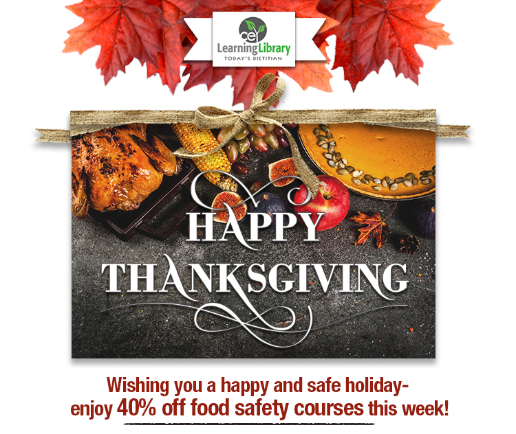 Wishing you a happy and safe holiday... Enjoy 40% off food safety courses this week!