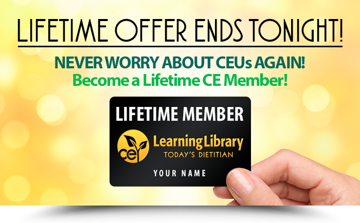 LIFETIME OFFER ENDS TONIGHT! NEVER WORRY ABOUT CEUs AGAIN! Become a Lifetime CE Member!