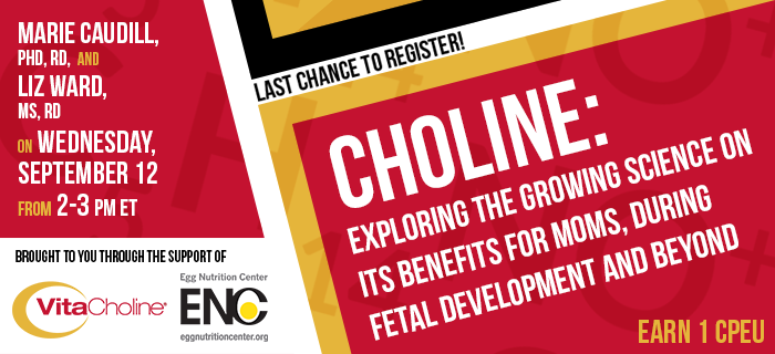 Last Chance to Register! - Choline: Exploring the Growing Science on Its Benefits for Moms, During Fetal Development and Beyond - Presented by Marie Caudill, PhD, RD, and Elizabeth Ward, MS, RD, on Wednesday, September 12 from 2-3 pm ET - Brought to you through the support of VitaCholine and the Egg Nutrition Center - Earn 1 CPEU FREE
