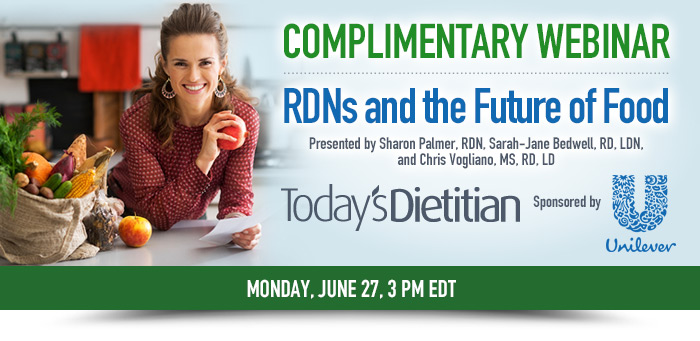 Complimentery Webinar: RDNs and the Future of Food - Presented by Sharon Palmer, RDN, Sarah-Jane Bedwell, RD, LDN, and Chris Vogliano, MS RD, LD - Monday, June 27, 3 PM EDT